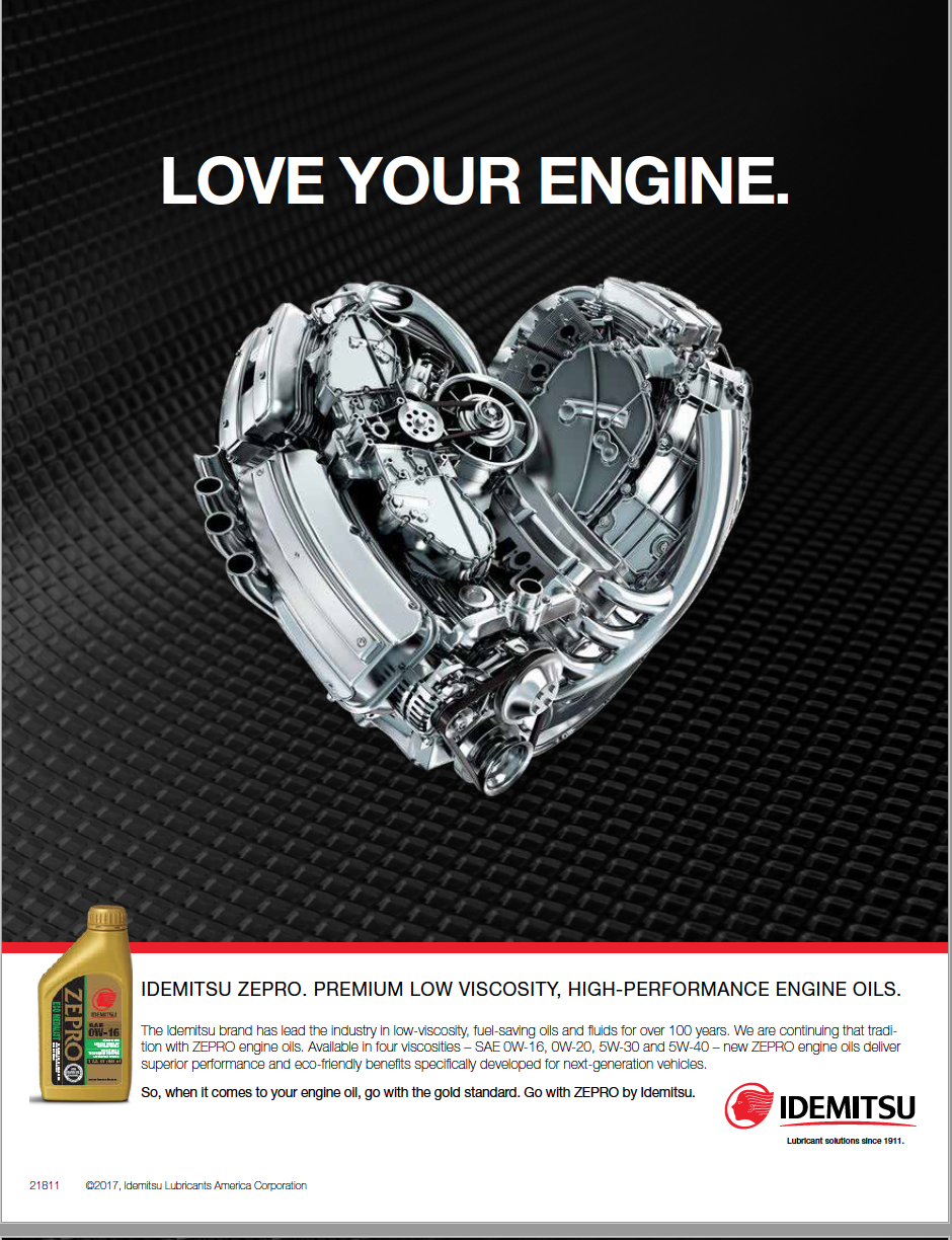 Print ad of engine parts combined to form a heart shape with text above that says love your engine