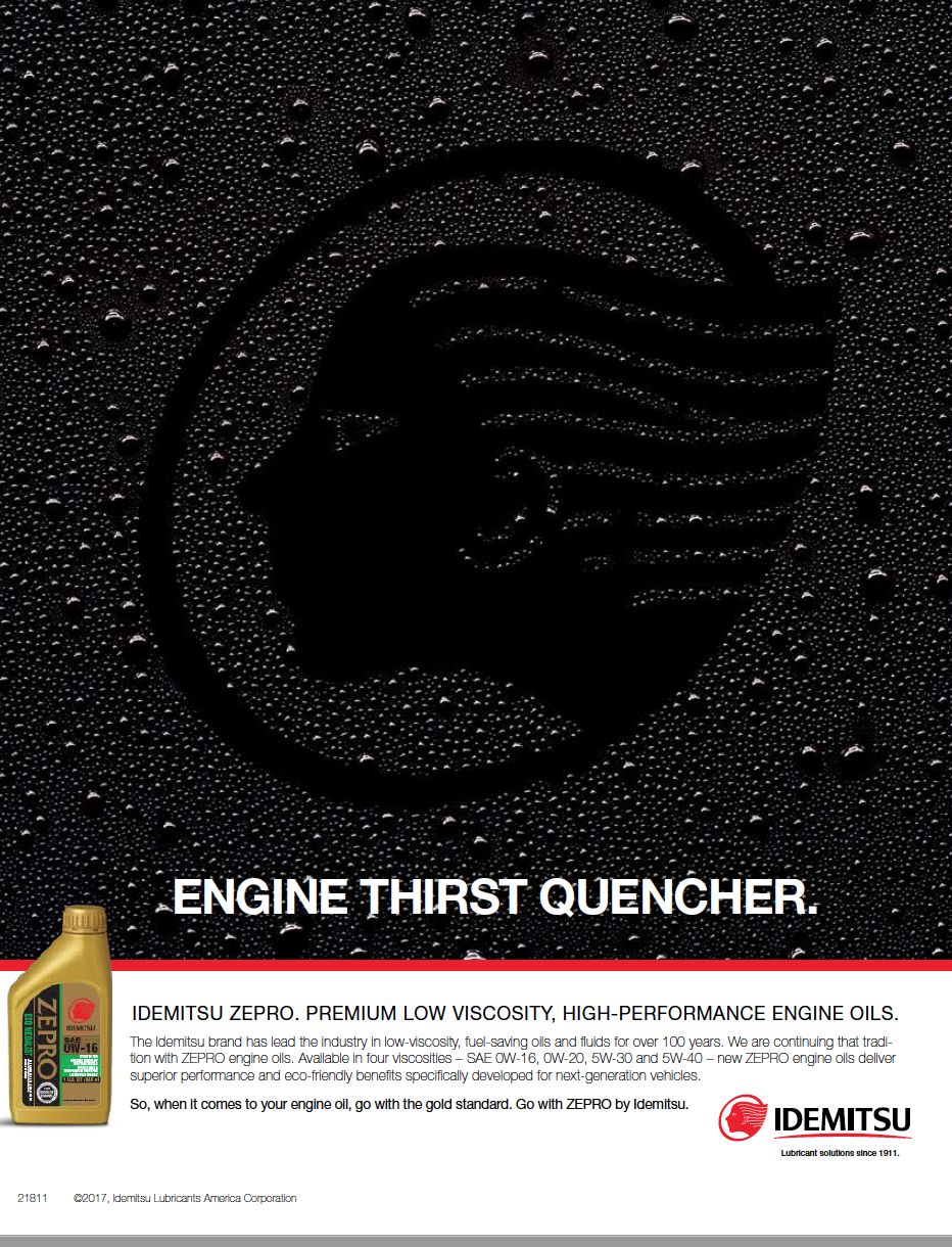 Print ad of water drops on a surface with the idemitsu logo over it and text that says engine thirst quencher