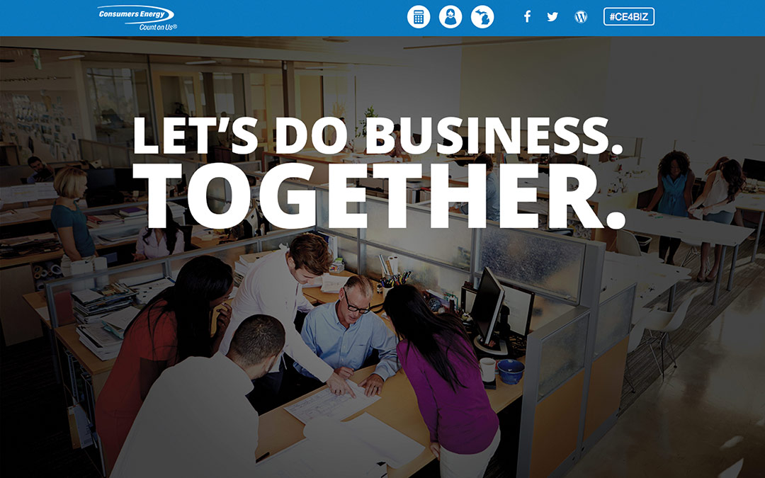 Consumers energy landing page that says let's do business. Together.