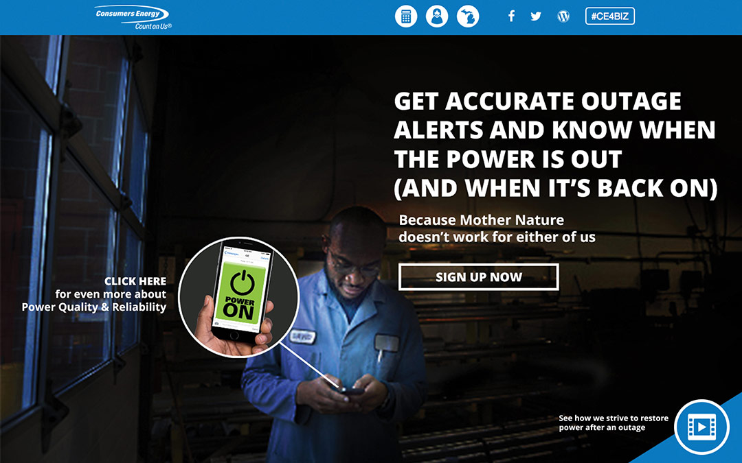 Consumers energy landing page that says get accurate outage alerts and know when the power is out (and when it's back on)