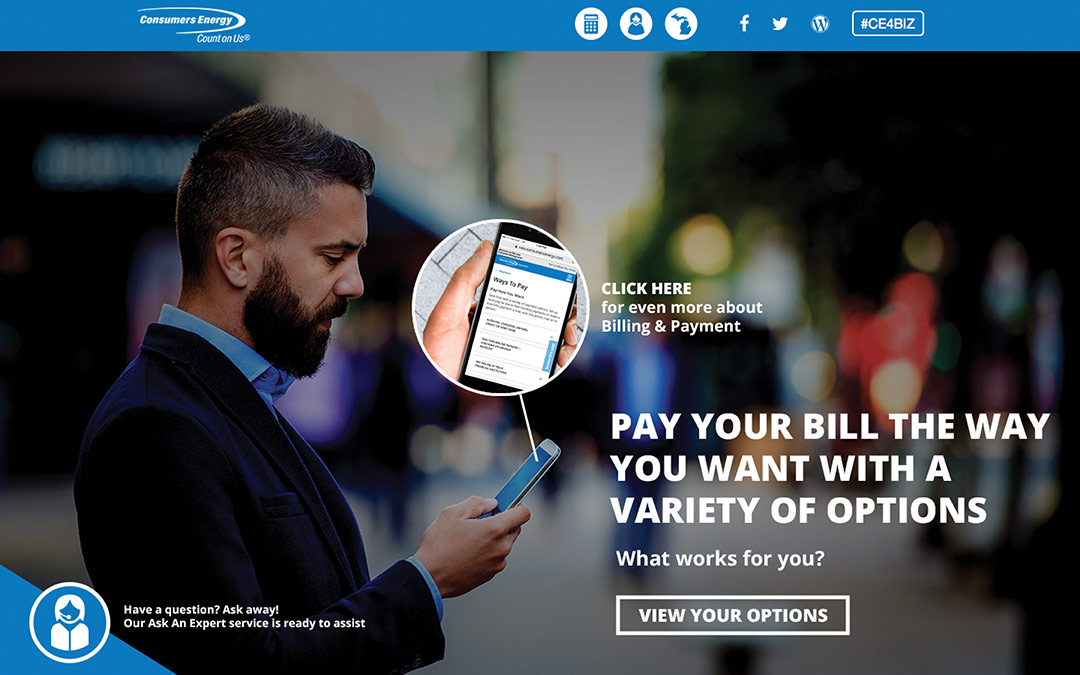 Consumers energy landing page that says pay your bill the way you want with a variety of options