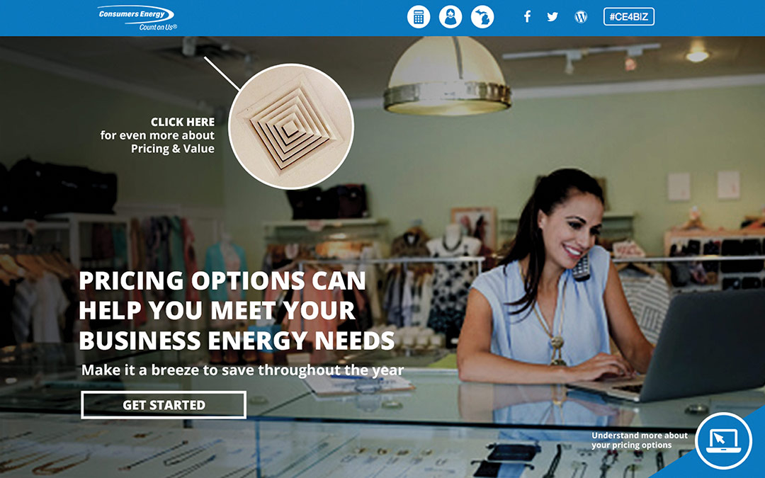 Consumers energy landing page that says pricing options can help you meet your business energy needs