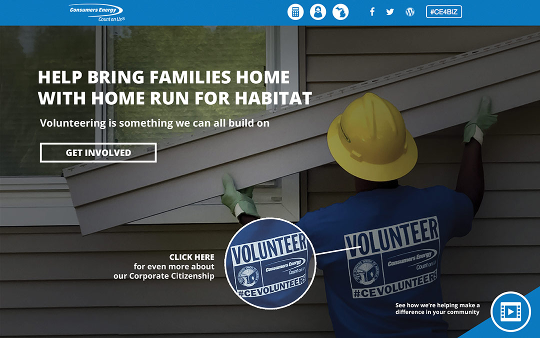 Consumers energy landing page that says help bring families home with home run for habitat