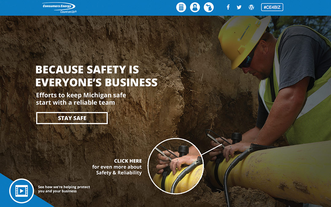 Consumers energy landing page that says because safety is everyone's business