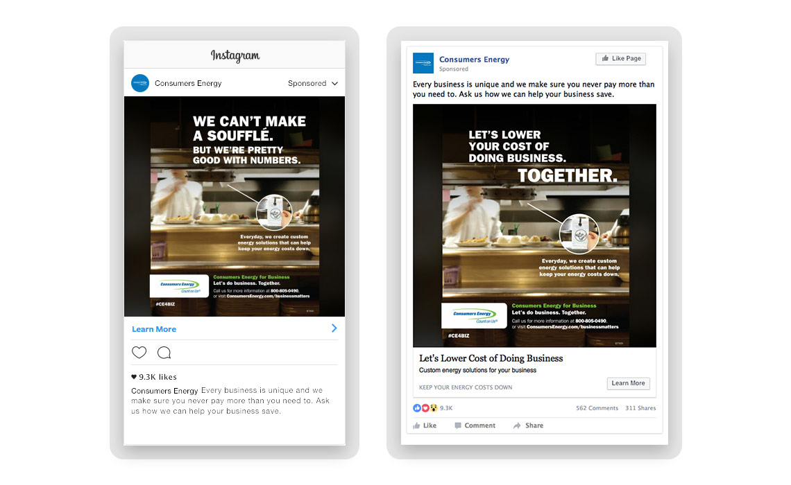 Instagram and facebook social ad designs of with an image of a restaurant kitchen where one says we can't make a souffle but we're pretty good with numbers and the other says let's lower your cost of doing business together.