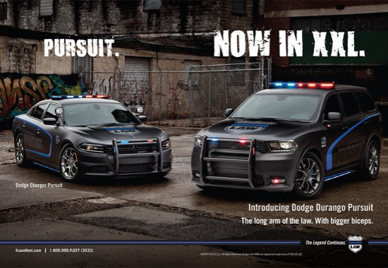 A Dodge Pursuit poster with a Dodge Charger and Dodge Durango that says, Pursuit. Now in XXL.