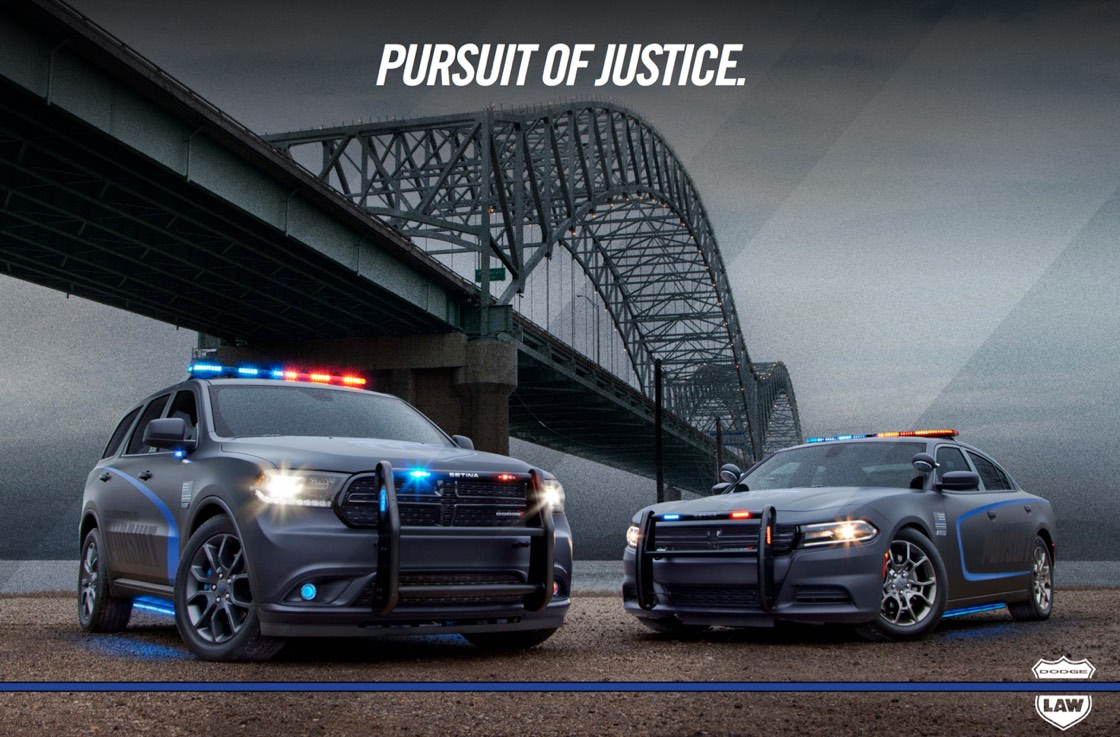 Another Dodge Purusit poster and shows the Dodge Durango on the left and Dodge Charger on the right both parked under a bridge that says, Purusit of Justice.